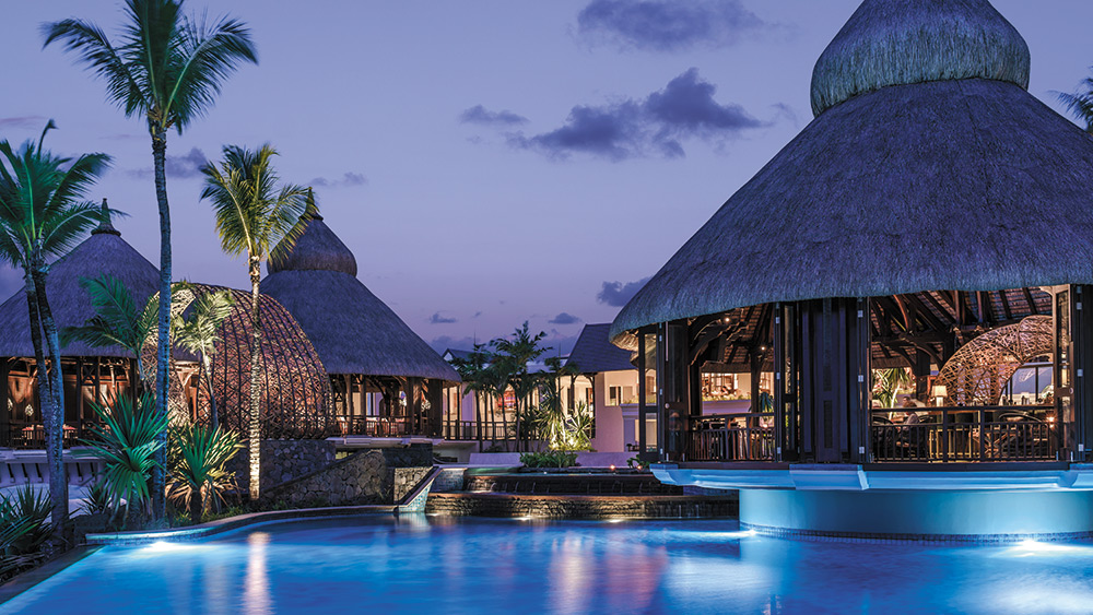 Main Pool in the evening at Shangri-La's Le Touessrok Mauritius