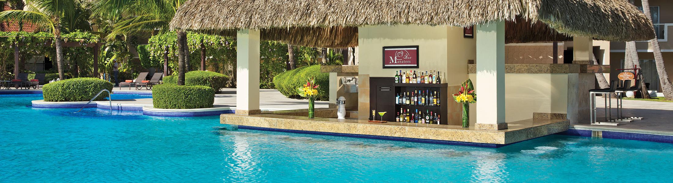Manatees pool bar at the Dreams Palm Beach Punta Cana