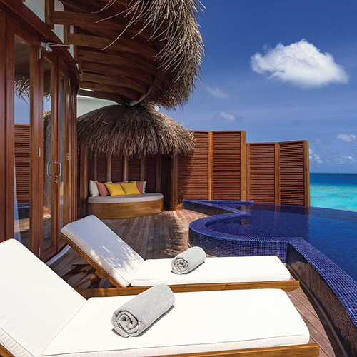 Sun lounges in the Honeymoon Water Villa at Oblu Select at Sangeli
