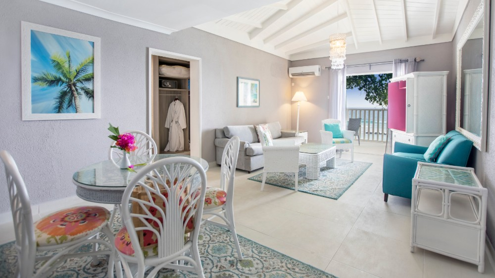 Living room of the Ocean Front Suite at Sugar Bay Barbados