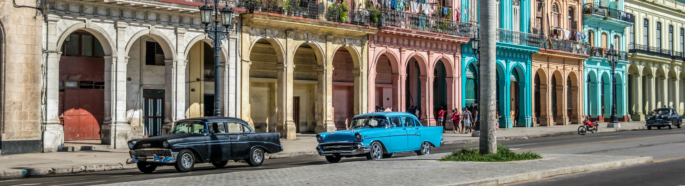 Old Havana downtown Street with classic American cars