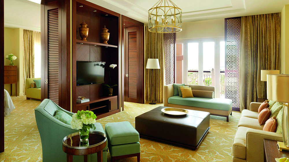 Living room in the One Bedroom Ocean Club Suite at Ritz-Carlton Dubai