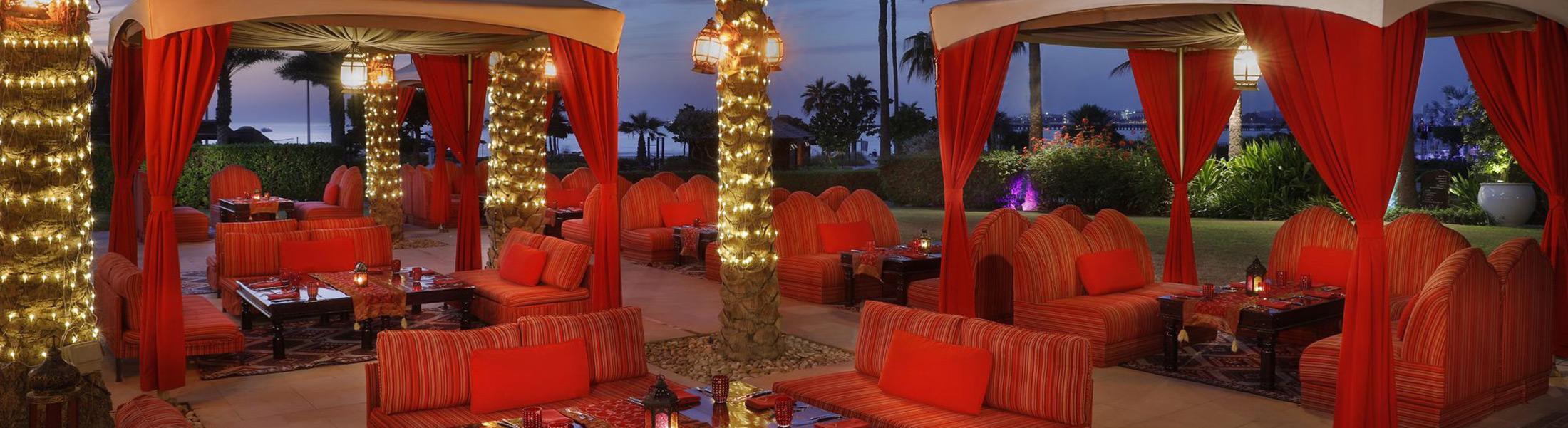 Dining in cabanas at Ritz-Carlton Dubai