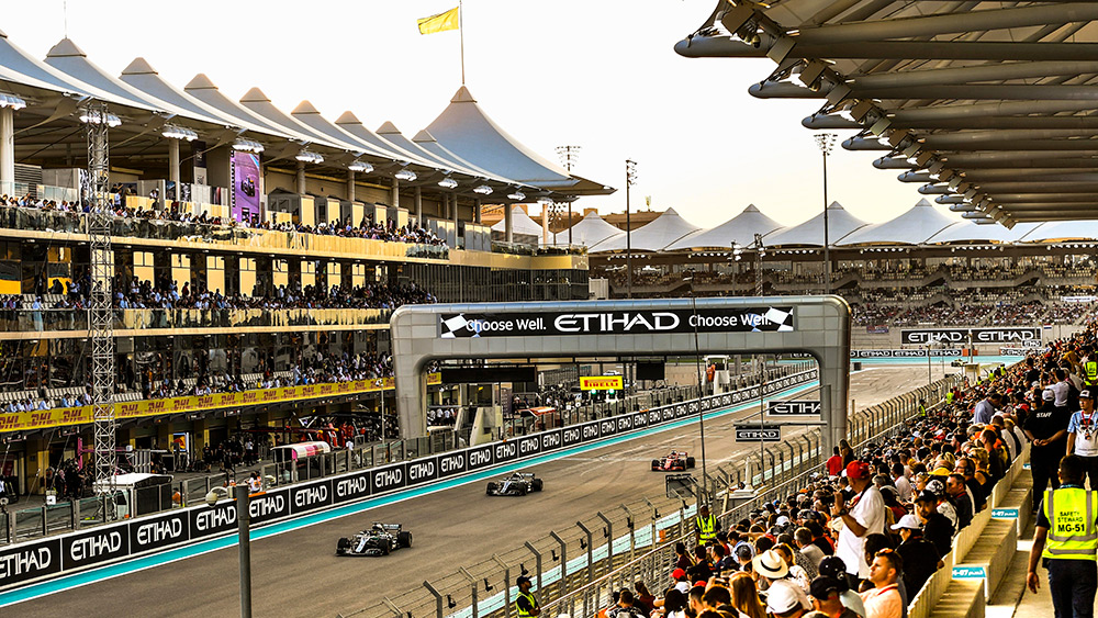 Cars on the grid at the Abu Dhabi Formula 1 Grand Prix