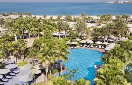 Aerial view of the pool and beach at Ritz-Carlton Dubai