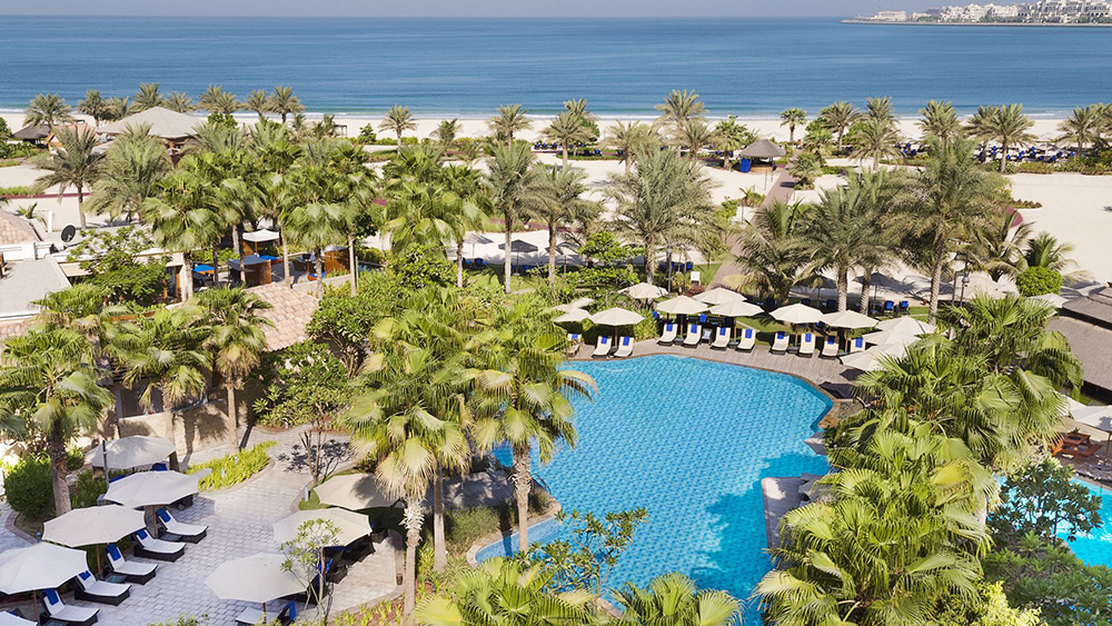 Aerial view of the pool and beach at Ritz-Carlton Dubai