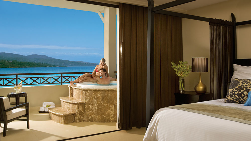 Presidential Suite hot tub at the Secrets Wild Orchid Montego Bay resort