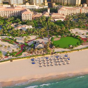 Aerial view of the beach at Ritz-Carlton Dubai