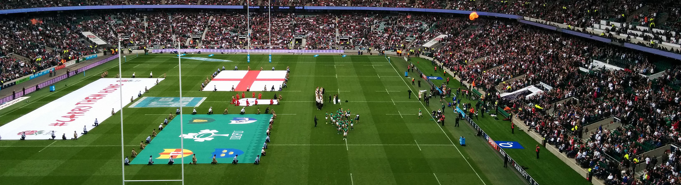 Filled stadium at the Rugby World Cup