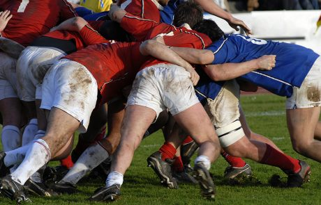 players in a scrum at the rugby world cup