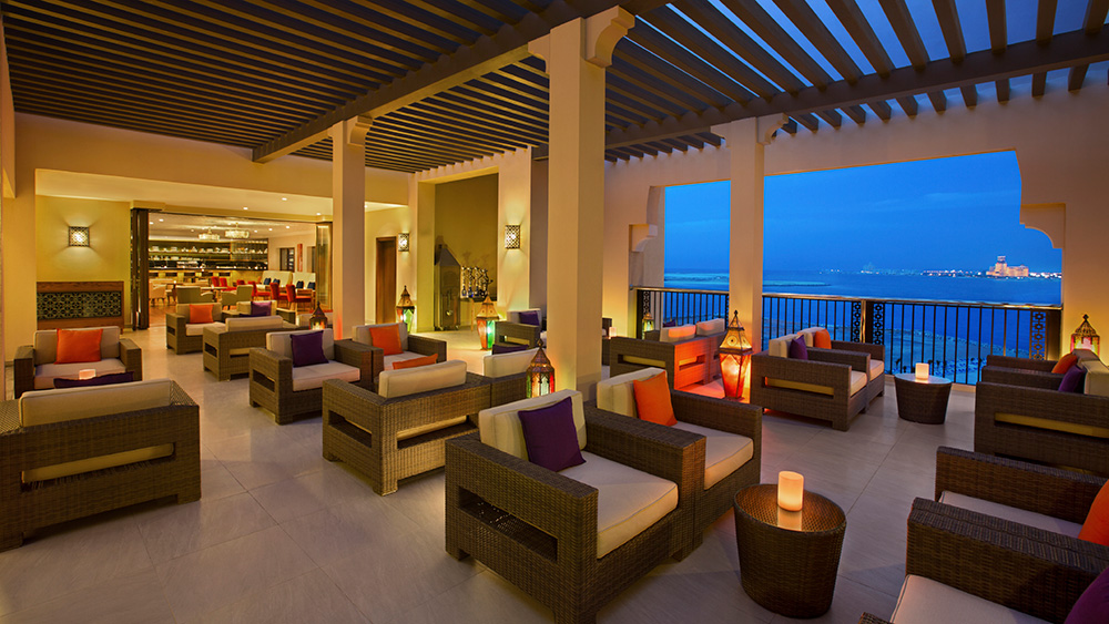 ShoFee Rooftop Bar at sunset at Doubletree by Hilton Resort Marjan Island