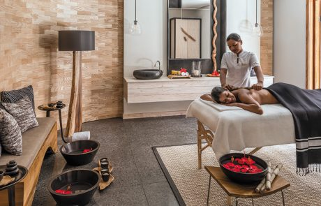 Woman getting a massage at Shangri-La's Le Touessrok Mauritius