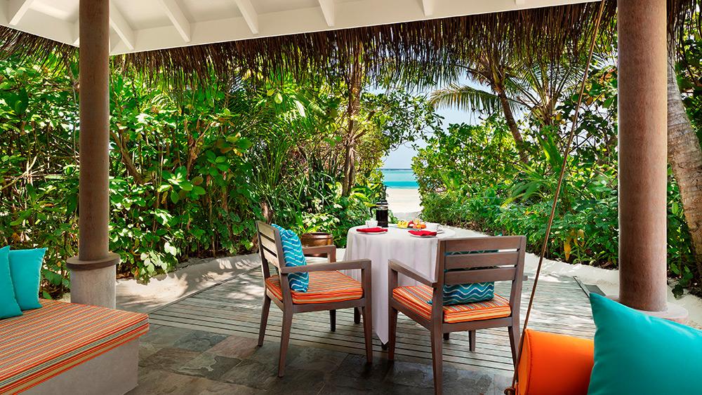Outdoor terrace of the Sunrise Beach Villa at Anantara Dhigu Resort