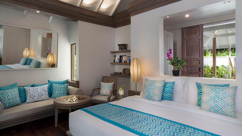 Bedroom of the Sunset Beach Villa at Anantara Dhigu Resort