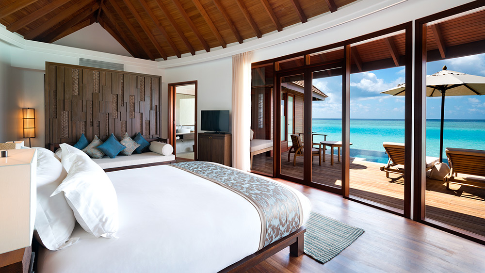 Bedroom of the Sunset Over Water Suite at Anantara Dhigu Resort