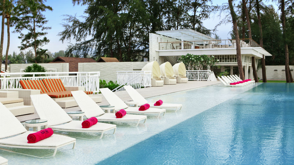 Swimming pool and loungers at the Angsana Laguna Phuket