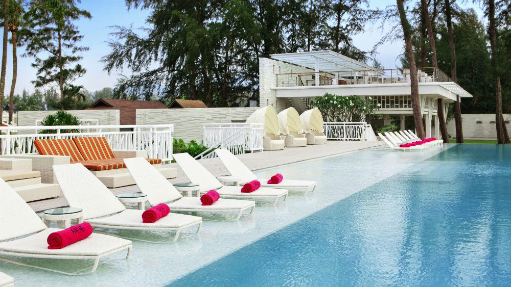 Swimming pool and loungers at the Angsana Laguna Phuket