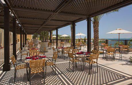 Terrace overlooking the ocean at Doubletree by Hilton Resort Marjan Island