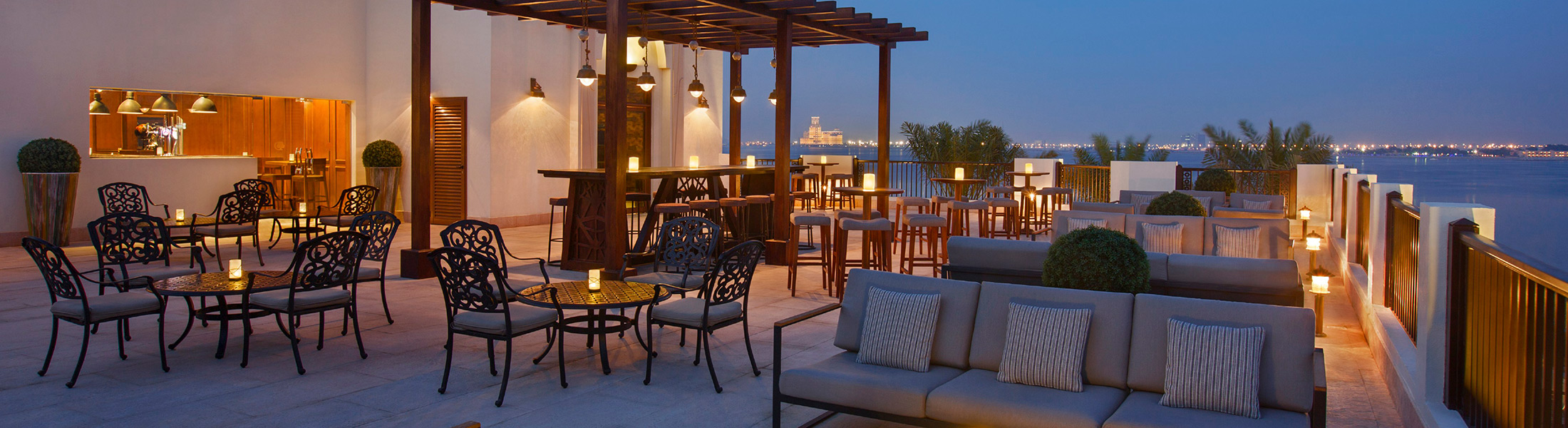The Anchor Bar at sunset at DoubleTree by Hilton Marjan Island