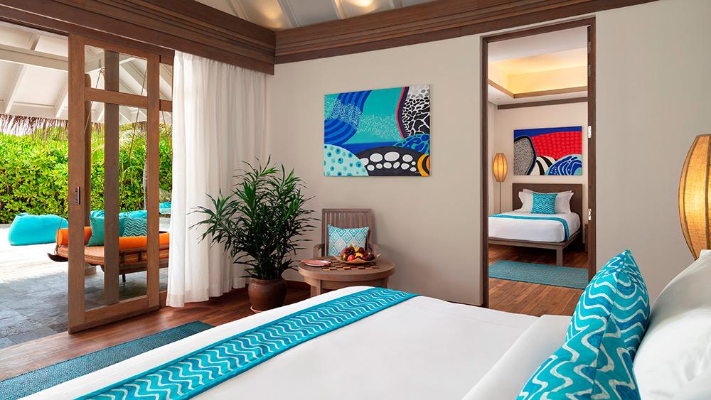 Bedroom of Two Bedroom Family Villa at Anantara Dhigu Resort