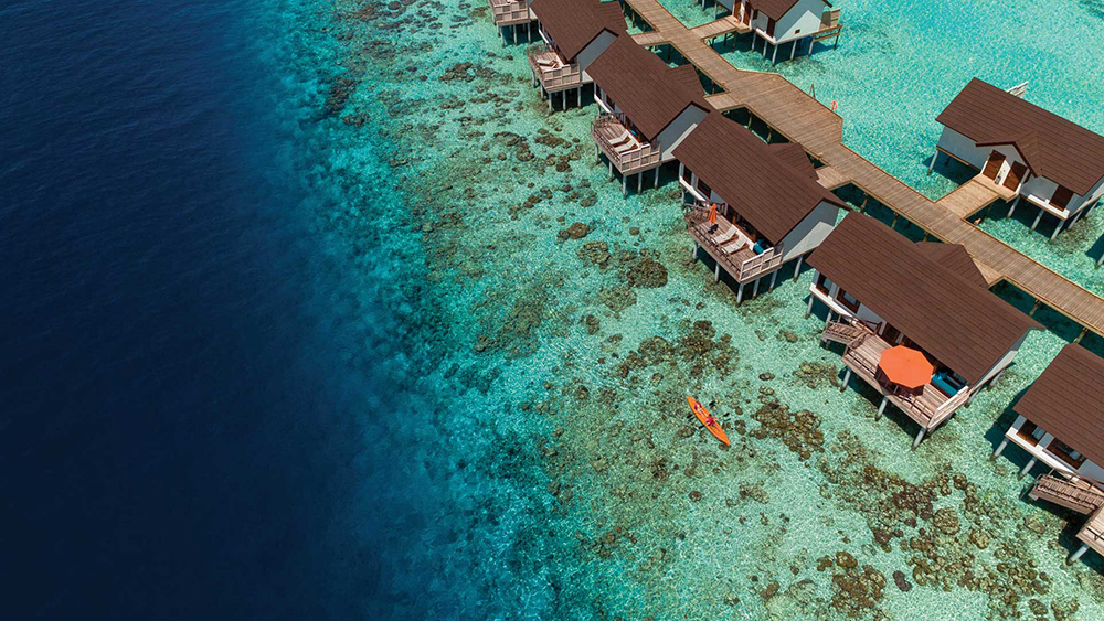 Aerial view of the water villas at Oblu Select at Sangeli
