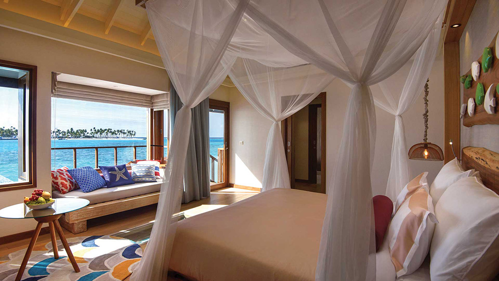 Bedroom of Water Villa at Oblu Select at Sangeli