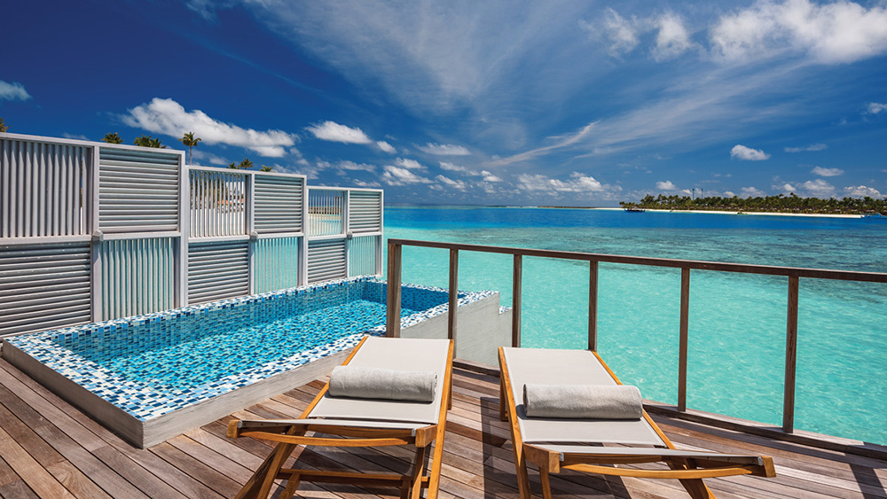 Private pool in the Water Villas with pool at Oblu Select at Sangeli