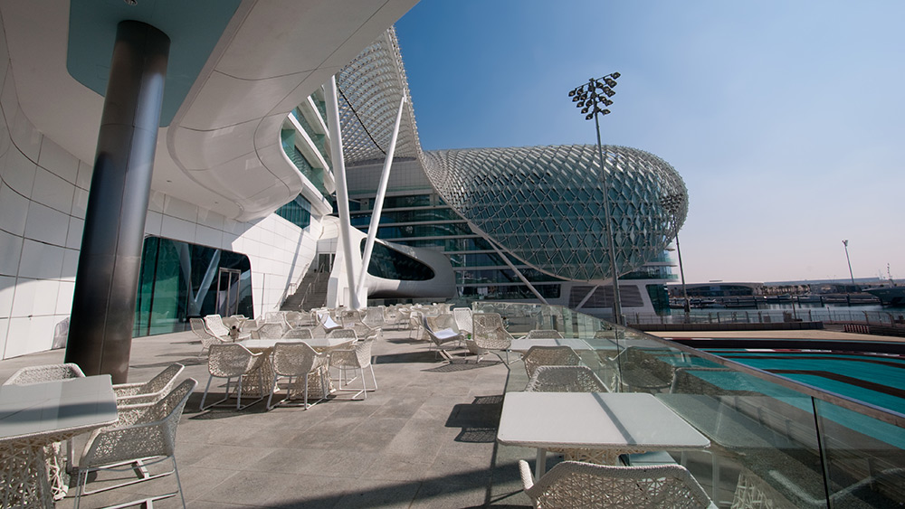Outdoor deck of the Yas Marina Hotel at the Abu Dhabi Grand Prix