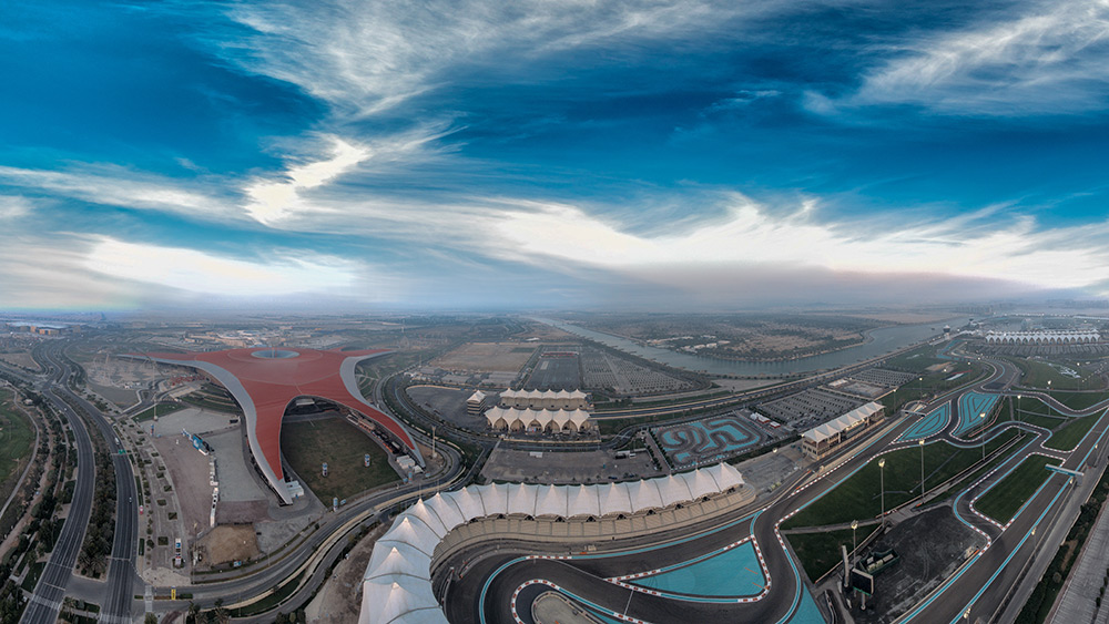 Aerial view of Yas Marina Circuit in Abu Dhabi