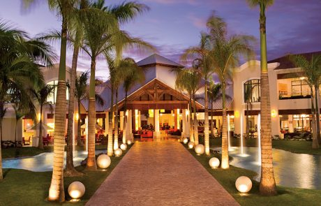 The lobby at night at the Dreams Palm Beach Punta Cana