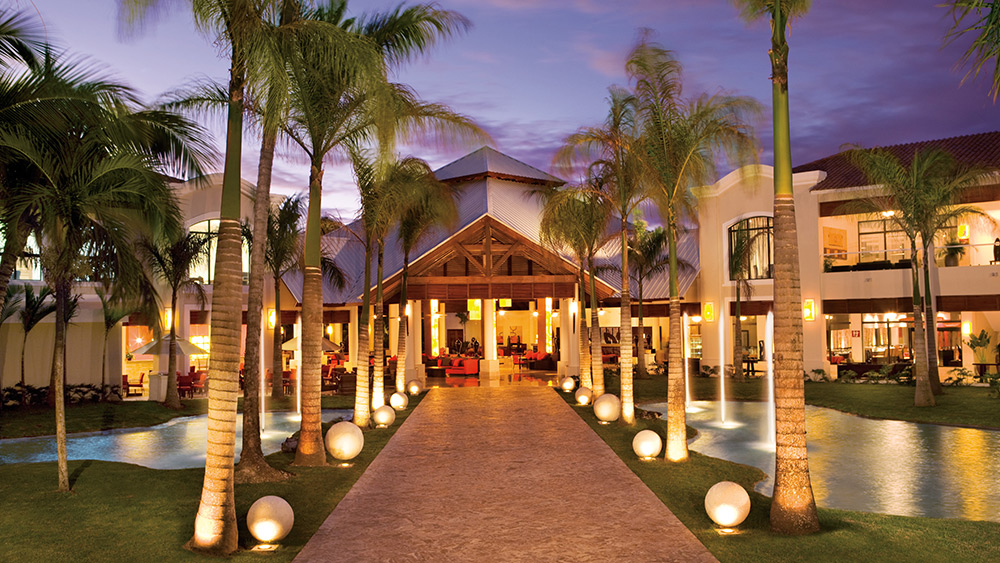 The lobby at night at the Dreams Palm Beach Punta Cana