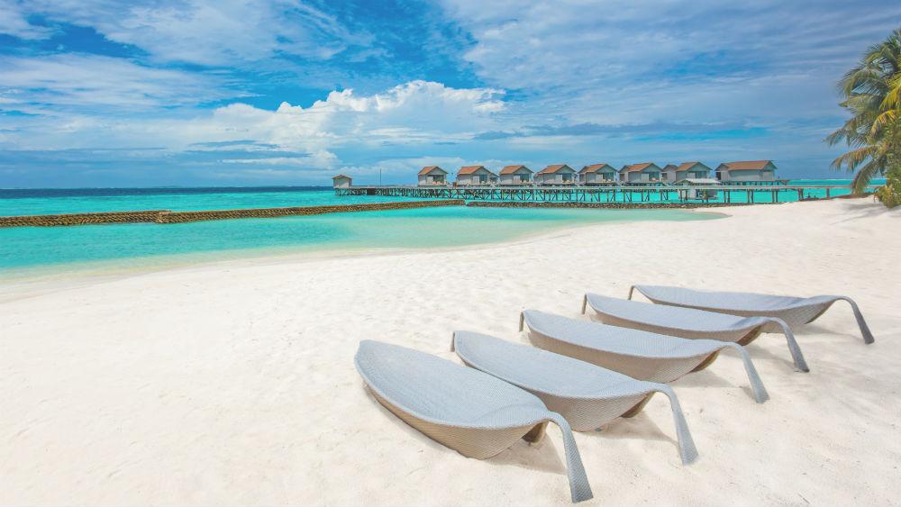 main beach at the Centara Ras Fushi Resort and Spa Maldives