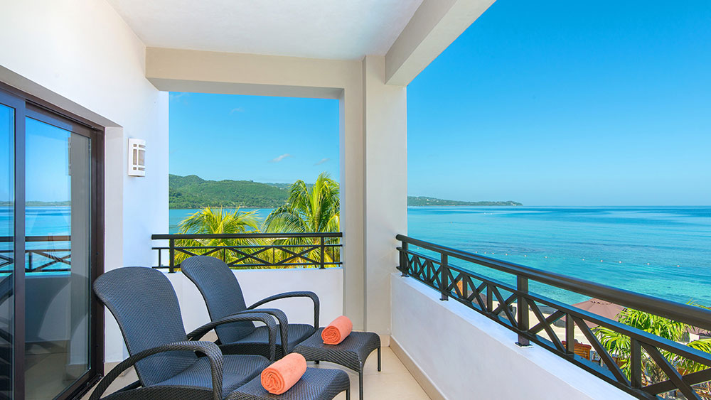 ocean view balcony at the Secrets Wild Orchid Montego Bay resort