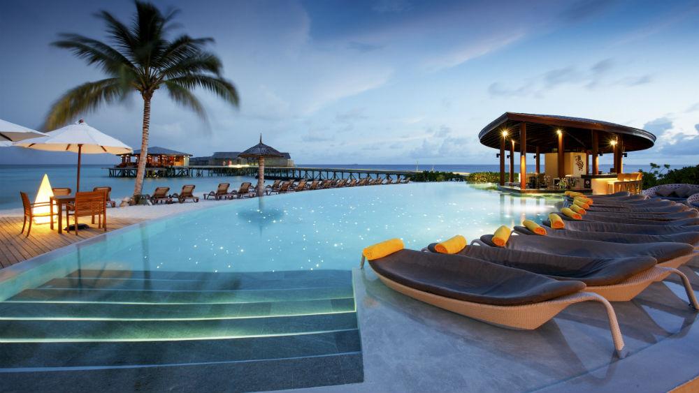 Main swimming pool at the Centara Ras Fushi Resort and Spa Maldives