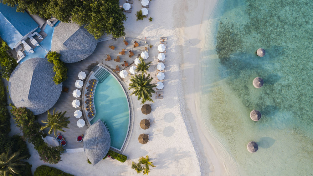 Aerial view of the beach at Centara Ras Fushi Resort & Spa