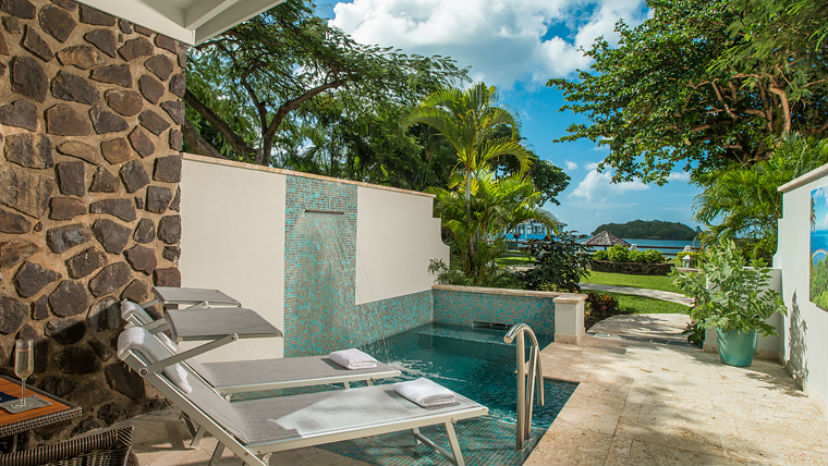 Beachfront Honeymoon Butler Room w Private Pool Sanctuary at the Sandals Halcyon Beach
