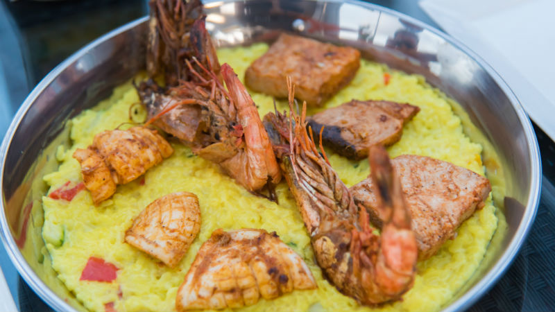 Cooked Fresh Shrimp with Rice Served food in Male Maldive