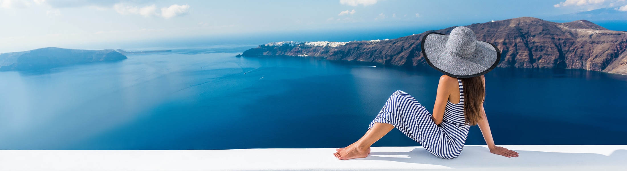 woman in Santorini on an adults only holiday