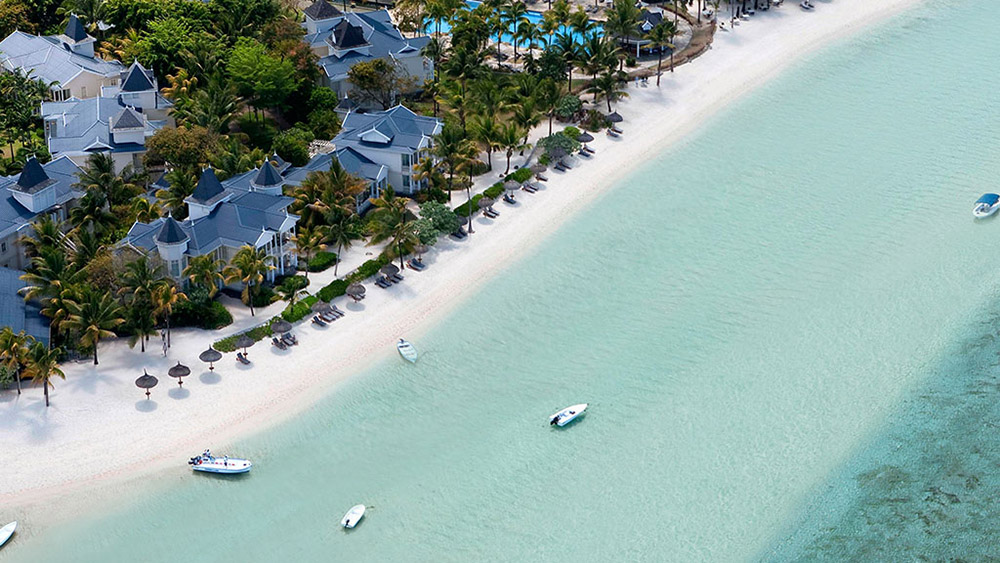 Aerial view of the beach at Heritage Le Telfair Mauritius