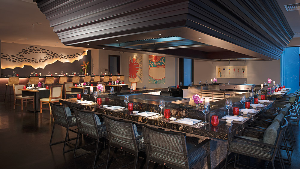 Teppanyaki bar at Himitsu restaurant at Secrets Cap Cana Resort & Spa in Dominican Republic