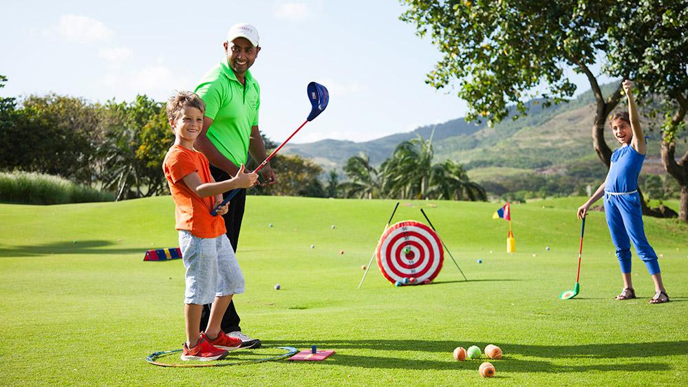 Kids golf club at Heritage Le Telfair Mauritius
