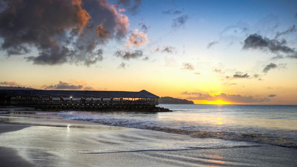 Morgans Pier Restaurant at sunset at St James Club Morgan Bay