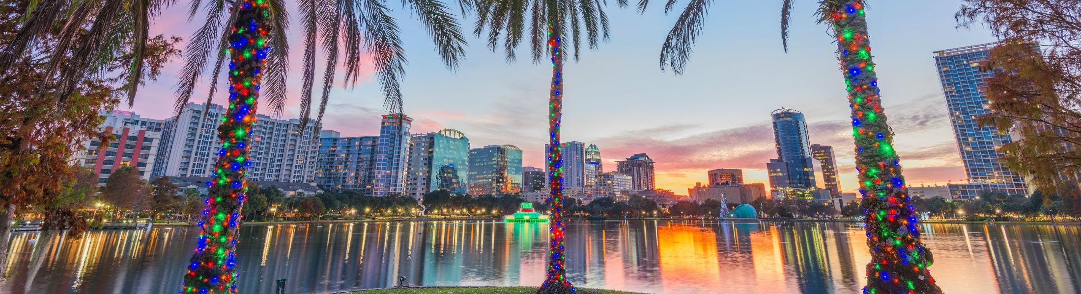 Orlando Florida USA downtown skyline at Eola Lake