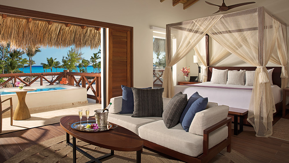 Living area of the Preferred Club Bungalow Master Suite Oceanfront at Secrets Cap Cana Resort & Spa in Dominican Republic