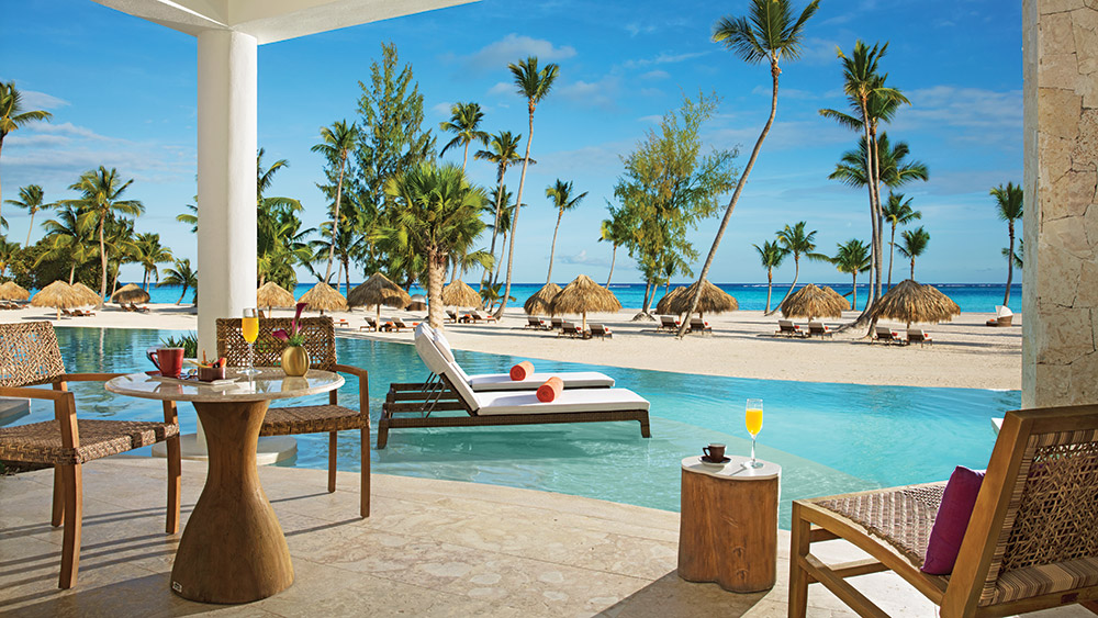 Terrace of the Preferred Club Bungalow Suite Swim Out Oceanfront at Secrets Cap Cana Resort & Spa in Dominican Republic