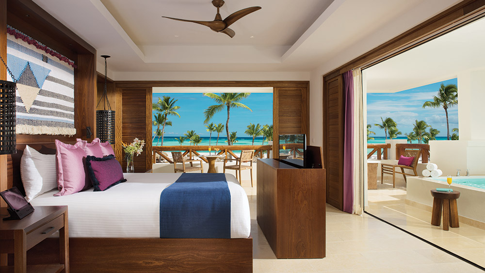 Bedroom of the Preferred Club Master Suite Plunge Pool at Secrets Cap Cana Resort & Spa in Dominican Republic