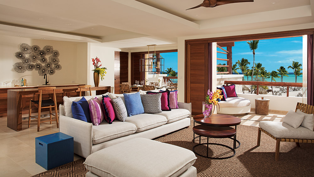 Living room of the Preferred Club Presidential Suite at Secrets Cap Cana Resort & Spa in Dominican Republic