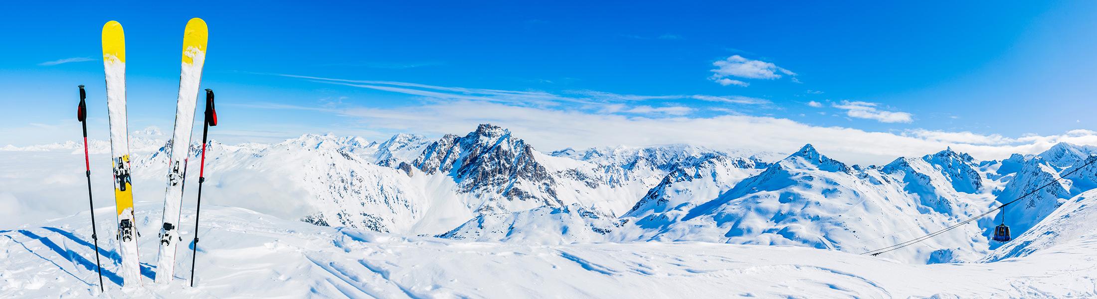 skis on a mountain top
