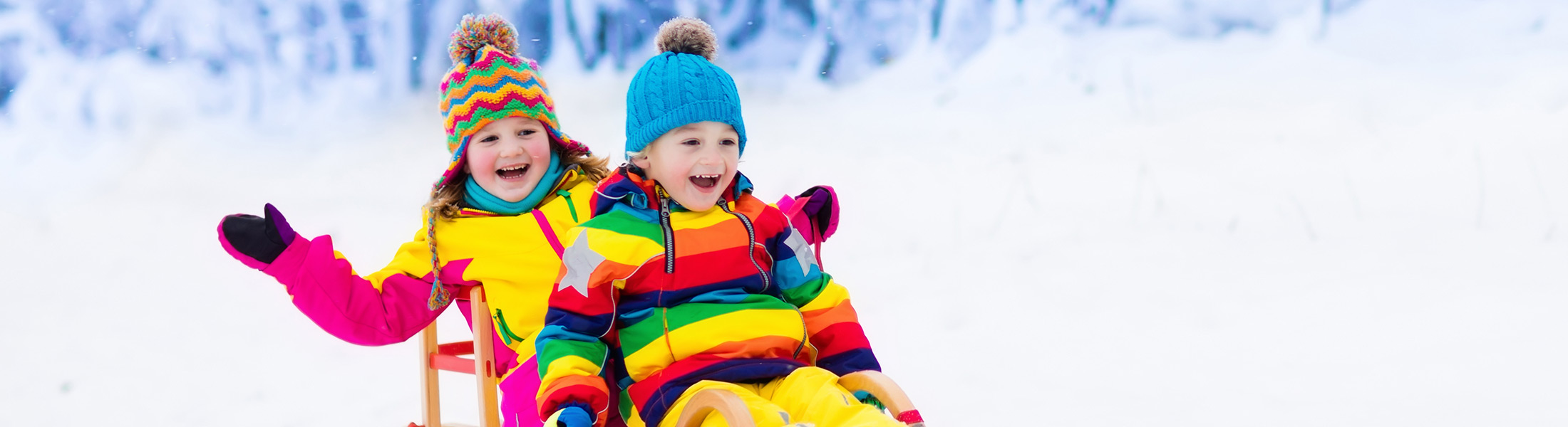Children on a sled on a ski holiday