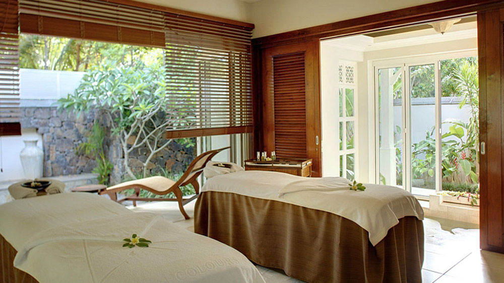 Treatment tables at the spa at Heritage Le Telfair Mauritius